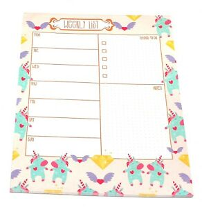 image about Cute Weekly Planner titled Facts concerning A4 Lovable Unicorn Layout Table Weekly Planner Buying Record Pad Tear off Sheets