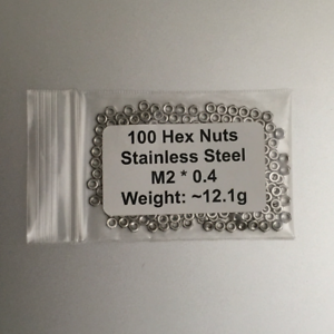 0.4 Stainless Steel 100 Hex Nuts M2