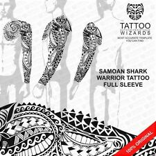 Maori Polynesian Samoan SHARK WARRIOR Full sleeve/Chest Tattoo Stencil Template