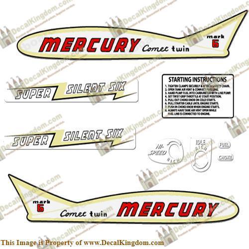 Mercury 1955 6HP Outboard Decal Kit 3M Marine Grade
