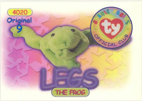 Series 1 Original 9 TY Beanie Babies BBOC Card BLUE NM//M - LEGS the Frog