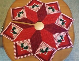 Log Cabin Christmas Quilt.Details About Handmade Log Cabin Quilted Christmas Tree Skirt
