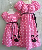 Minnie Mouse Aplique 60's Insprd. Mother/daughter= Dress Size S M L Custommd
