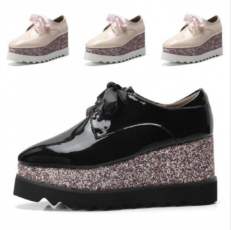 donna scarpe Creeper Square Toe Patent Leather Lace Up Wedge Heels scarpe 34-42