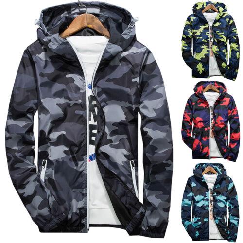 Men Army Camo Hoodie Hooded Sweatshirt Zip Up Windbreaker Jacket Casual Coat Top
