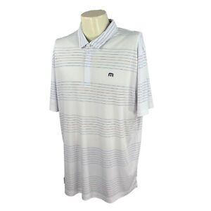 Travis Mathew Men's Bridgewater Club Logo White Stripe NWT Golf Polo Shirt XXL