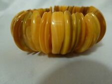 Mother of Pearl Abolone Shell Yellow Dyed Half Moon Stretch Bracelet