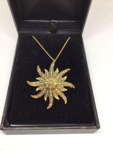 Enchanting Antique Victorian Pearl, 14 K Y G Star… - image 1