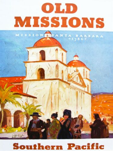 ART PRINT TRAVEL TOURISM MISSION SANTA BARBARA SPANISH CHURCH CAPILLA NOFL1216