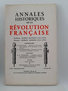 Revista Anales Historia de La Revolution Francaise Abril-Junio 1967 N º 188