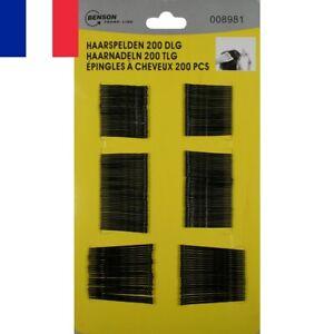 Set-de-200-X-Barrettes-a-Cheveux-Noires-6-cm-Metal-Pince-epingle