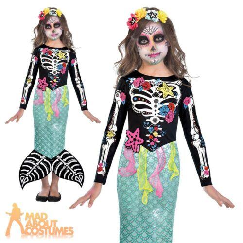 Girls Day of the Dead Mermaid Costume Skeleton Halloween Kids Child Fancy Dress