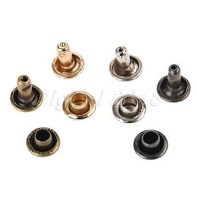 100pcs 6x8mm Double Cap Rivet Tubular Metal Leather Craft Repairs Studs Decor
