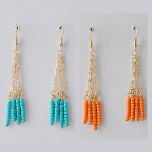 Image Is Loading Bead Drop Gold Fringe Tel Earrings C Orange