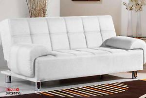 Divano Letto Bianco Ecopelle : Divano letto 200x99cm bianco ecopelle 3 posti reclinabile imbottito