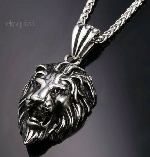 Lion Head Collier Pendentif Chunky Punk Biker Goth Chaîne