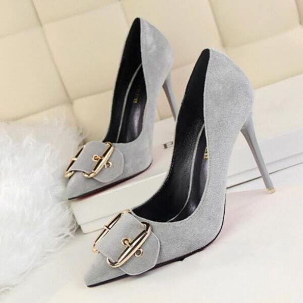 decolte scarpe donna eleganti grigio chiaro 10.5 cm  stiletto simil pelle CW191