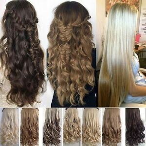 US-Full-Head-5clips-Clip-in-on-Hair-Extensions-Real-thick-as-human-hair-1pcs-TH3