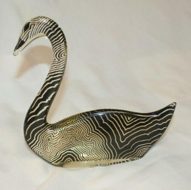 "Abraham Palatnik Swan 5.5"" Signed Figurine BRAZIL Sticker Lucite"