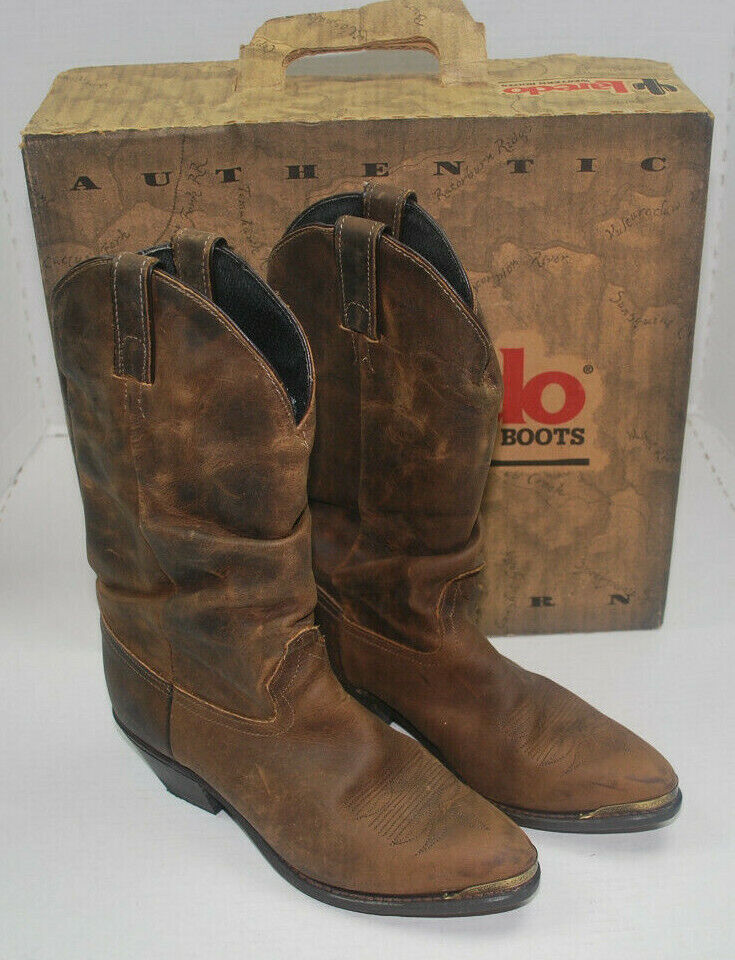 Laredo Cowboy Boots Rough Slouch Womens 7.5 MED Brown Leather 7 1 2 M Western