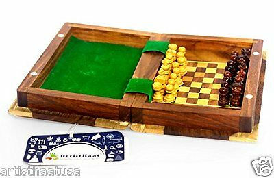 Artist Haat Hand Carved Wooden Magnetic Travel Chess Board Game Book Set India