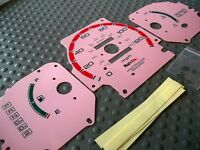 96-00 Honda Civic Dx Automatic Trans Pink & Red Glow Through Gauges For Cluster