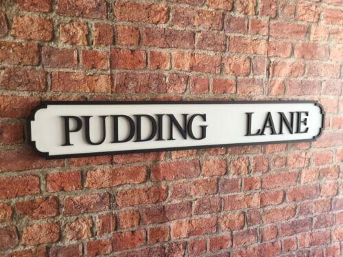 PUDDING LANE Vintage Wood London Street Road Sign