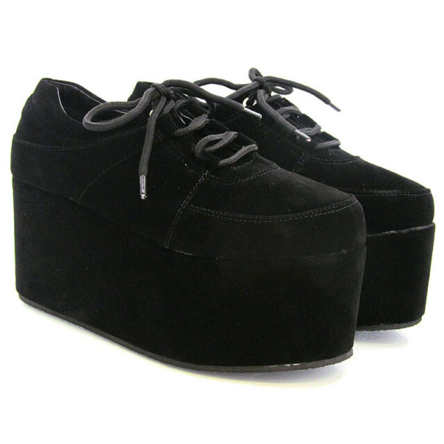 NEW WOMENS HIGH PLATFORM RETRO WEDGE FLATFORM CREEPERS GOTH PUNK SHOES SIZE 3-8