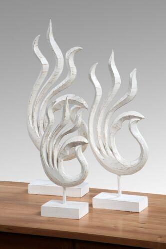 Skulptur Albasiaholz Figur Deko Holz Standfifgur Flamme 40cm