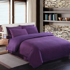 KING-size-Poly-Cotton-Bed-sheets-Fitted-Flat-Valance-Base-amp-Duvet-Cover