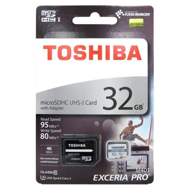 0b38328ff Toshiba 32GB Exceria Pro Micro SD Card 4K U3 95MB s Flash Phone Memory Card