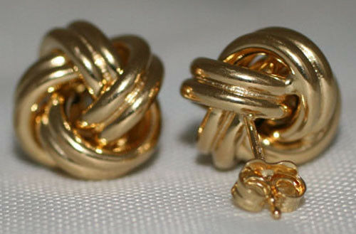 "Solid 14K Yellow Gold Love Knot Stud Earrings CLASSIC Italian 12.5mm=0.50/"" 1.9g"