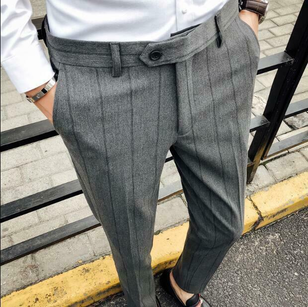 Mens Tapered Slim Fit Pants Business Stripped Korean British Trousers Casual A90