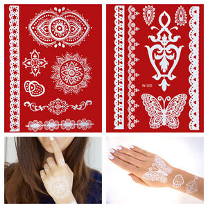 Flash-White-Lace-Henna-Tattoos-Set-WEISS-Hand-Finger-temporaeres-Tattoo-W299-305