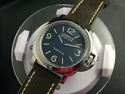Hot 43mm Japan Automatic Movement Green Luminous Mark Brown Strap Men's Watch