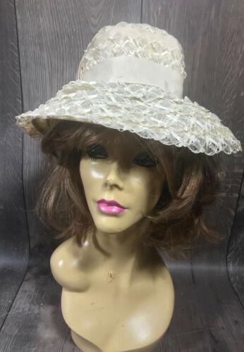 Vintage Ladies Summer Faux Layered Straw W/ Ribbon