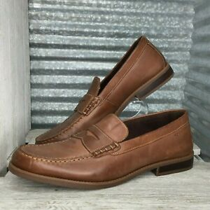 Details about Rockport Mens Penny Loafer Leather Brown Flexible Shock Absorbing Moc Toe Sz 14
