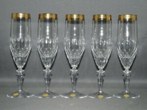Theresienthal-5er-Satz-Sektfloeten-Kristall-Goldrand-Handarbeit-20-1-cm