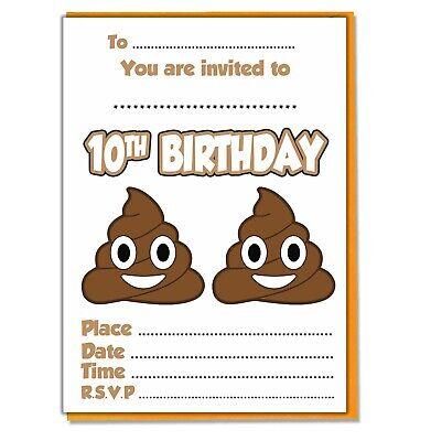 Kids Emoji Poo Party Invites Birthday Girls Boys 20 Invitations Envelopes Ebay