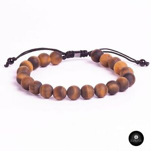 Kavak Handmade Men's Bracelet Genuine Tiger eye Beads stones