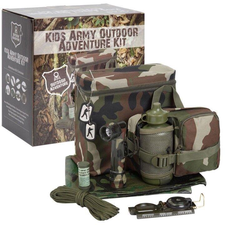 Jungen Armee Outdoor-Abenteuern Set Tarn Plane Kompass Tüte Taschenlampe
