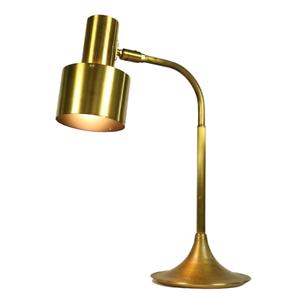 Tisch-Leuchte-Messing-Strahler-Spot-Trompetenfuss-Messing-Lampe-Denmark-60er-70er