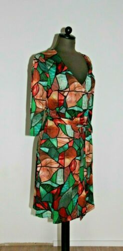Jersey Shirtkleid Grün 36 Größe Bindegürtel bunt Kleid T Dreiviertelarm 38 ETFxqw7n