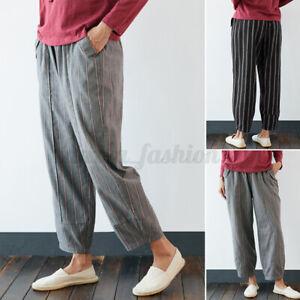 Mode-Femme-Taille-Haute-Coton-Rayure-Long-Casual-en-vrac-Loose-Pantalon-Plus