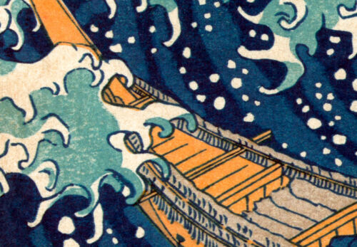 WELLE KANAGAWA NATUR Wandbilder xxl Bilder Vlies Leinwand P-B-0009-b-a