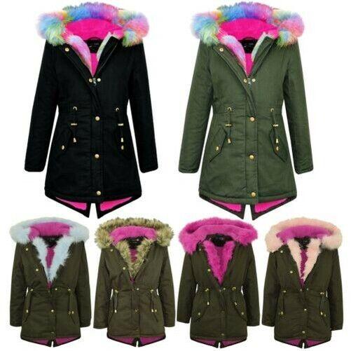 Kids Girls Cerise Faux Fur Hooded Parka School Jackets Outwear Coats 5-13 Years