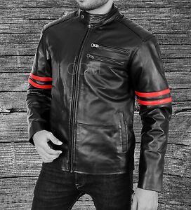 J Mens Biker Quilted Style Wilson Jacket Leather Slim Designer Fit attxCwgq