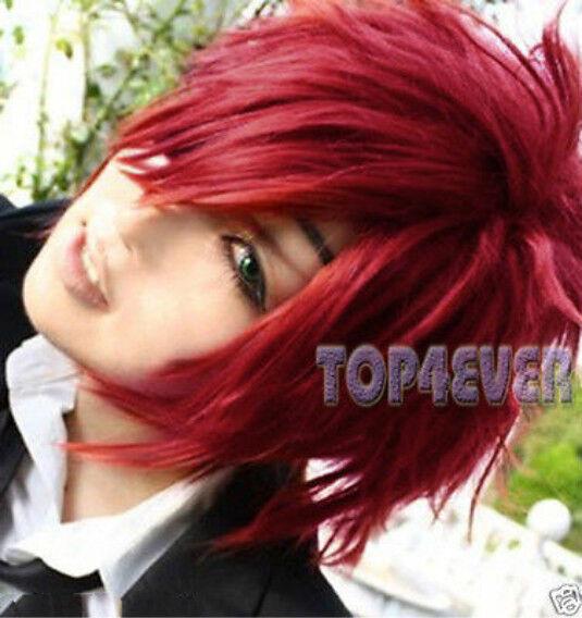 Hot~D.Gray-man Lavi Bookman Jr. Straight Short Dark Red Cosplay Anime Wig W01