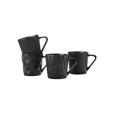 NEW Maxwell & Williams Cosmos Mug Set of 4 400ML Matte Black Gift Boxed