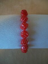 Acrylic Red Dice With White Dots Bracelet With Strech Band~Made In The USA, NEW!